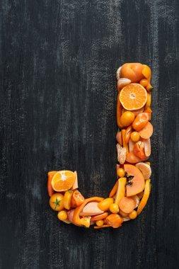 orange alphabet letter