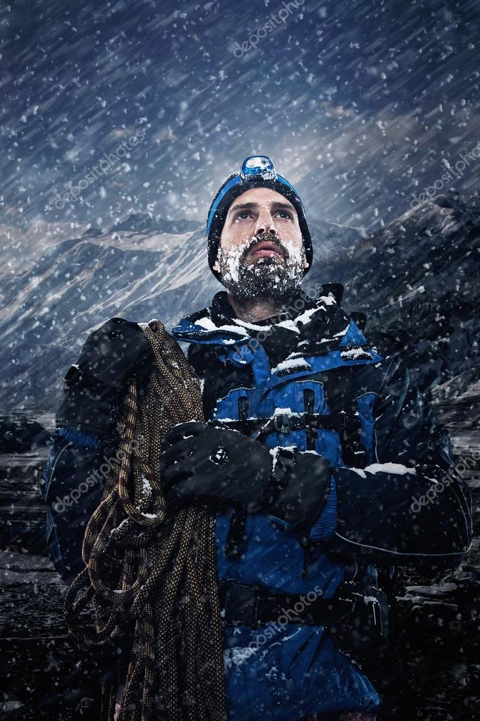 mountain man in snow expedition