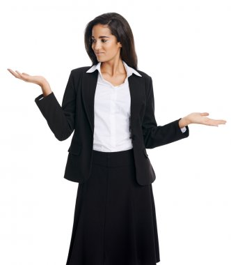 businesswoman weighing her options