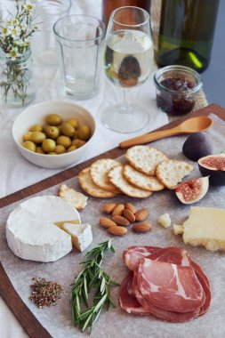 Italian appetisers on table
