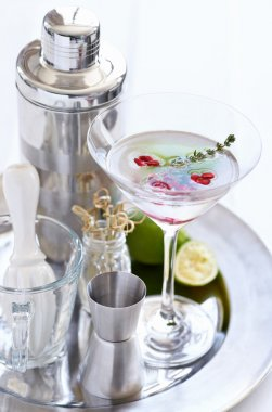 martini with pomegranate seeds