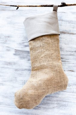 Handmade burlap christmas stocking