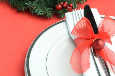 Christmas dinnerware on table