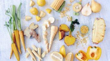 Variety of yellow toned fresh produce
