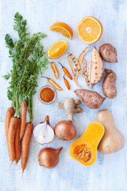 Butternut soup fresh raw ingredients