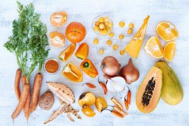 Orange hue toned collection fresh produce