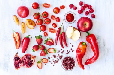 Red fresh produce vegetables and fruits