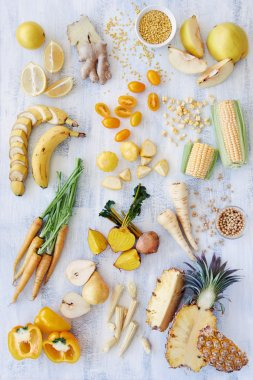Yellow raw and organic foods