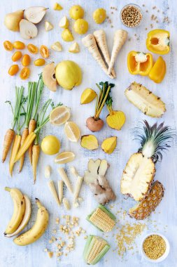 Raw food Produce : Yellow colour scheme