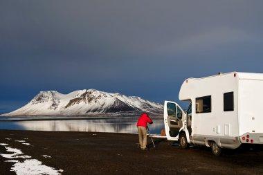 Campervan through Iceland roads