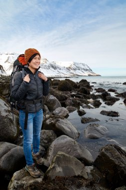 Independent woman hiker on trekking adventure