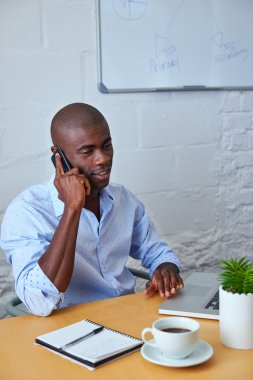 business man talking on phone with clients