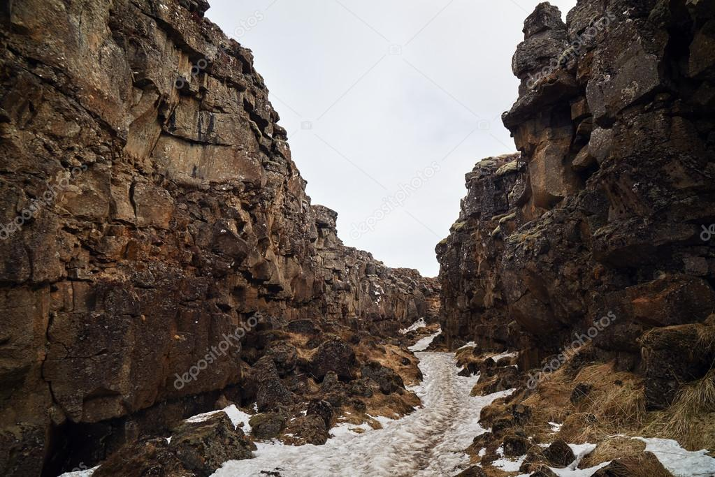 Rocky canyon between tectonic plates