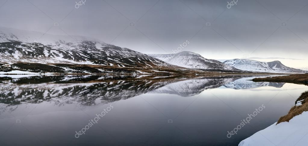 Landscape of snowy mountains with lake