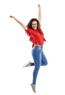 Happy woman jumping of joy