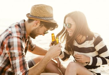 Couple having great time together