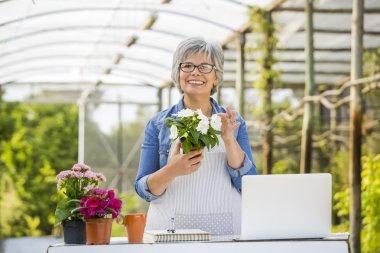Woman working in a flower shop