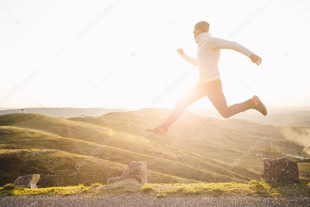 Man jumping over