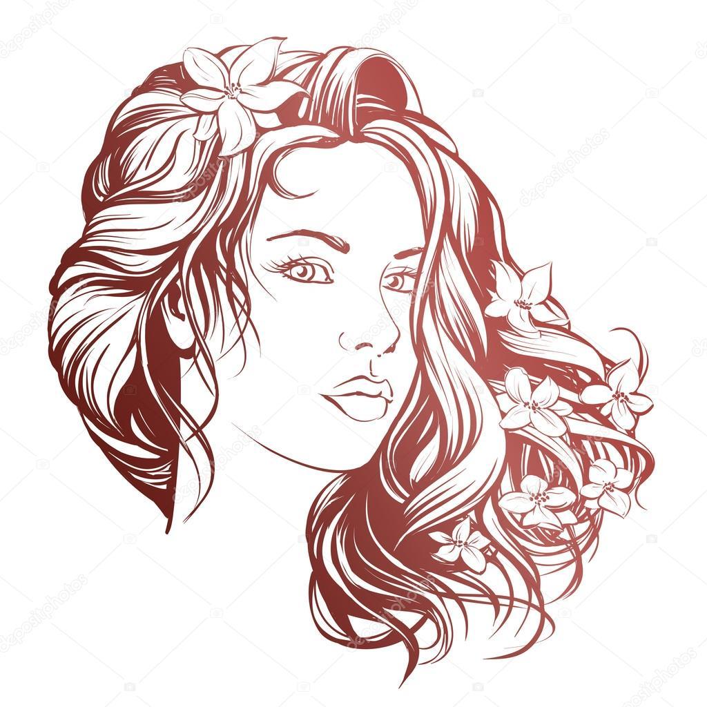 Populares desenho ilustração mulher bonita cara mão desenhada vector vetor rg14