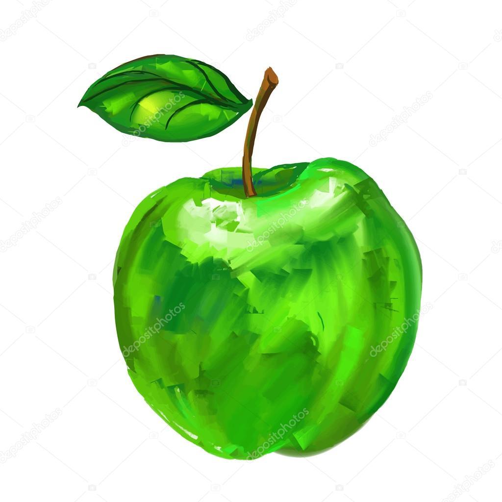 Yeşil Elma Vektör çizim Elle çizilmiş Sulu Boya Boyalı Stok Vektör