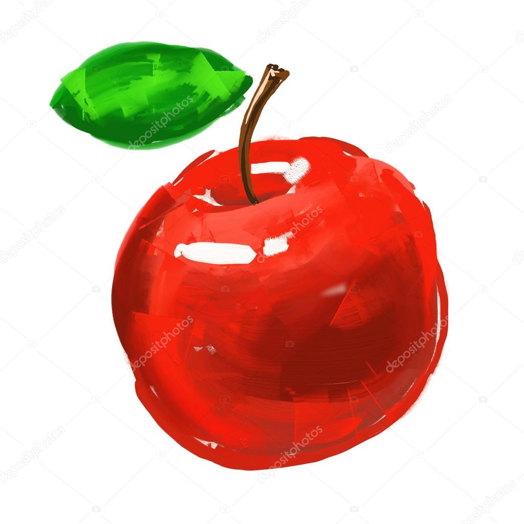 Apple Vector Illustration Hand Drawn Painted Watercolor Stock
