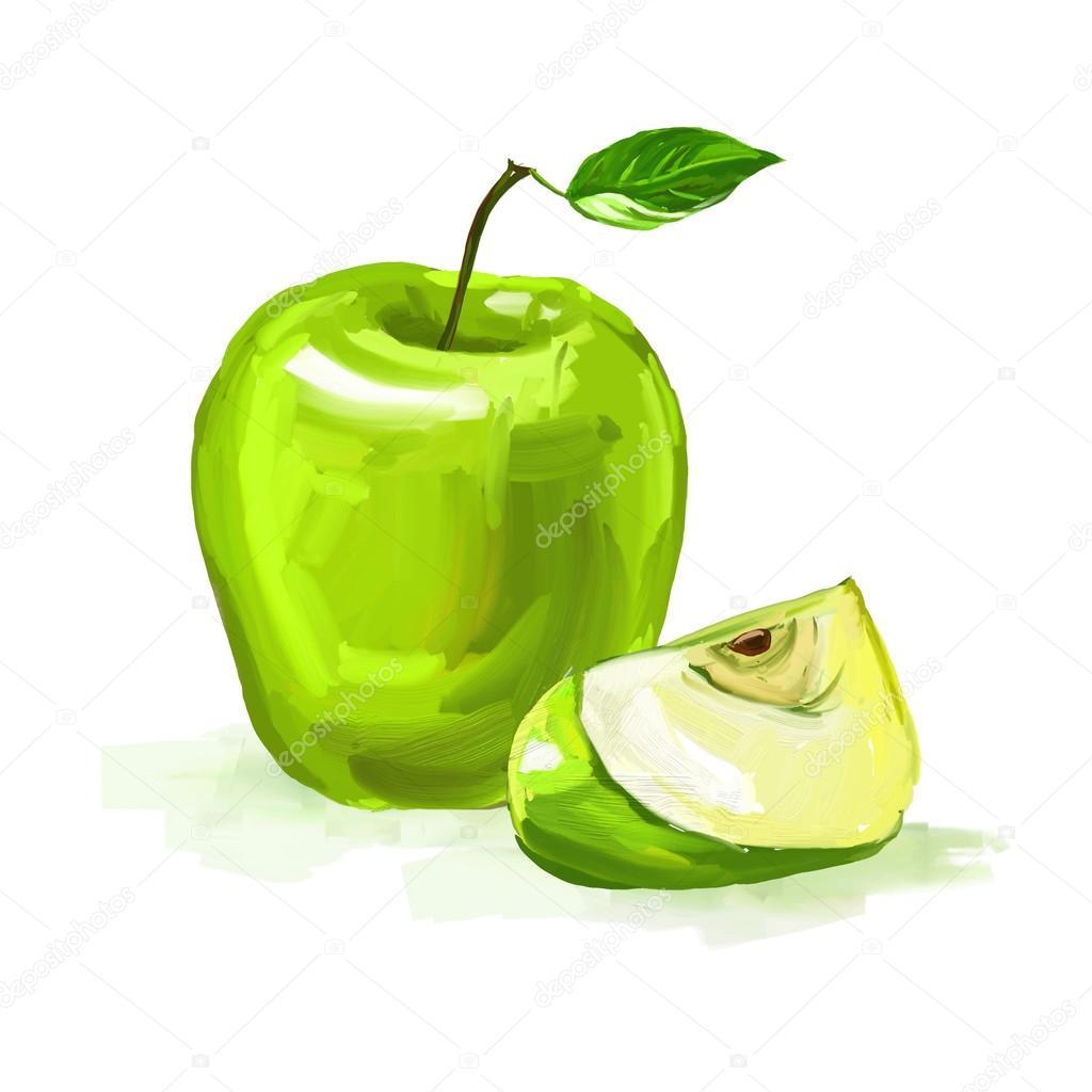 Elma Vektör çizim Elle çizilmiş Sulu Boya Boyalı Stok Vektör