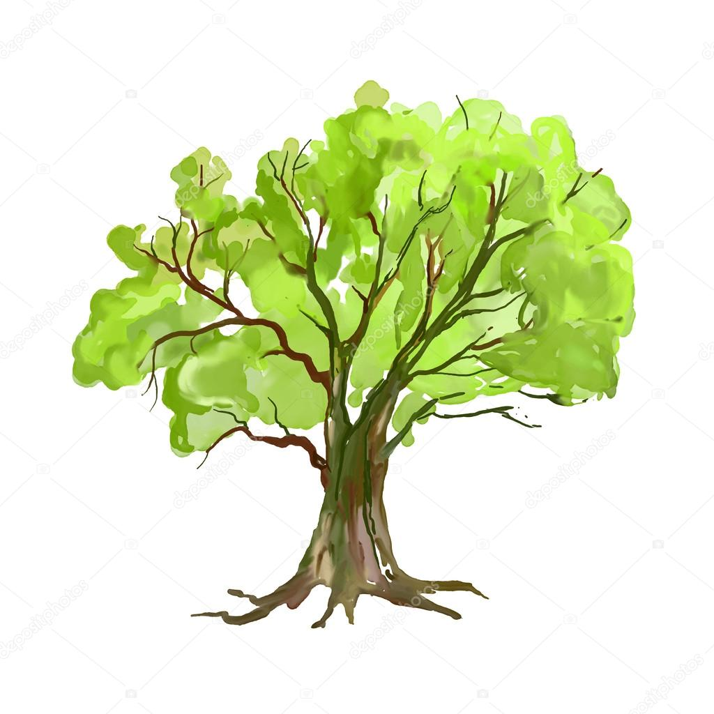 Tree Vector Illustration Hand Drawn Painted Stock Vector