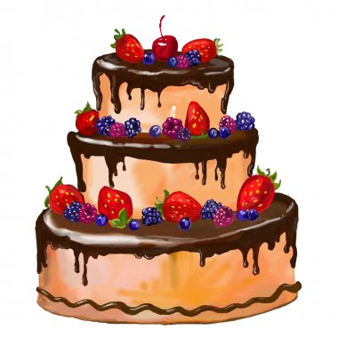 cake vector illustration  hand drawn  painted watercolor