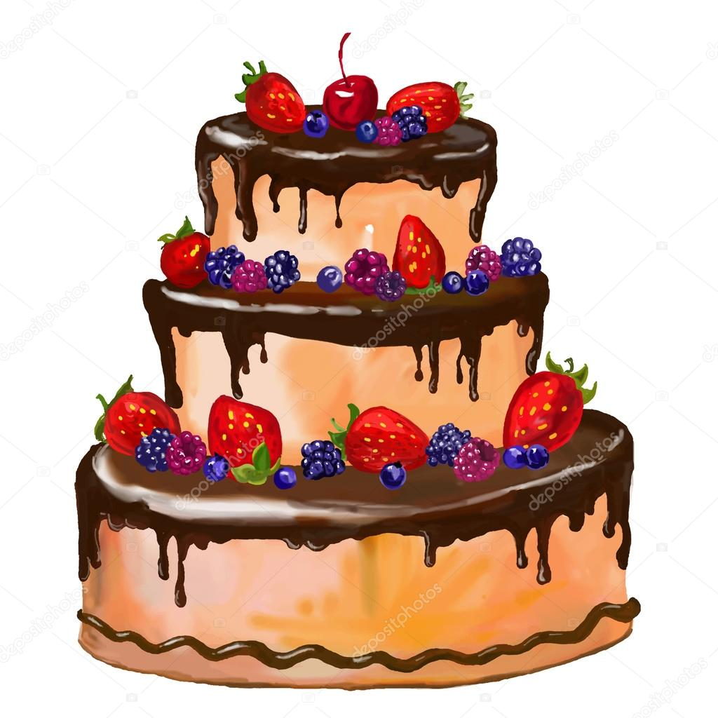 cake vector illustration hand drawn painted watercolor Stock