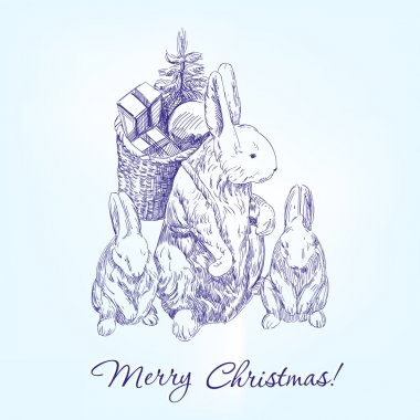 christmas greetings family rabbits  hand drawn vector llustration  sketch