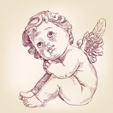 angel or cupid little baby l hand drawn vector llustration