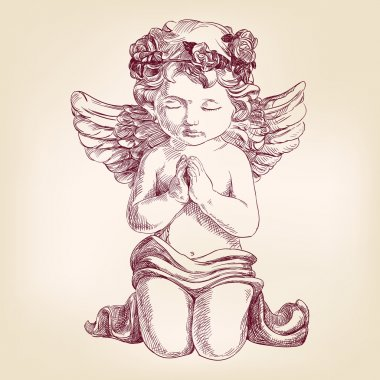 angel prays on his knees hand drawn vector llustration  realistic  sketch