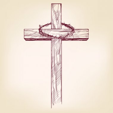 cross and crown of thorns, hand drawn vector llustration