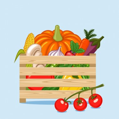 Wooden box with vegetables and fruits in a flat style.
