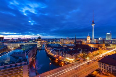 The center of Berlin after sunset