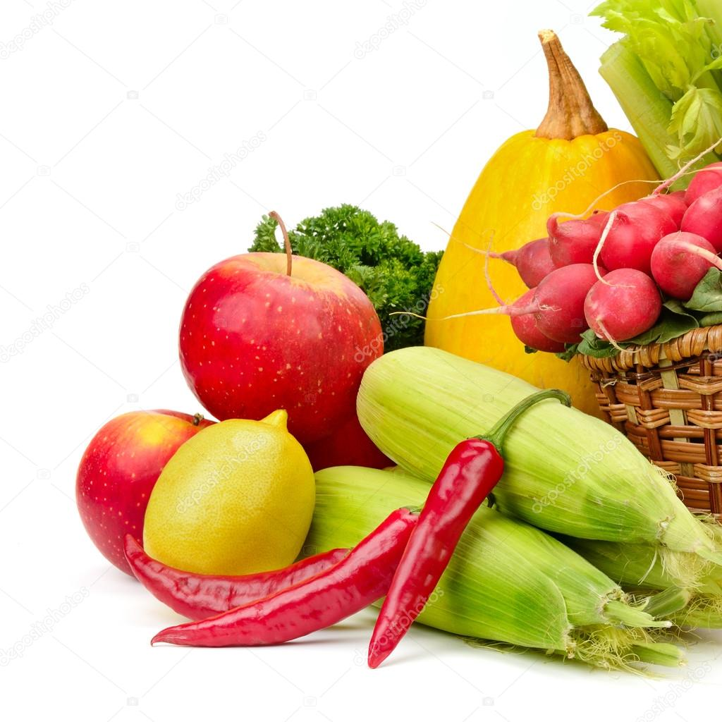 assortment vegetables and fruits in basket u2014 stock photo serg64