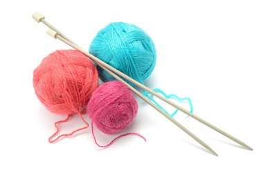 Woolen balls and knitting needles