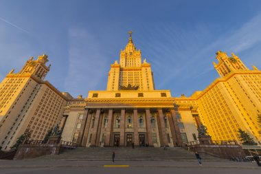 Moscow State University neboskreb- famous symbol in the evening light of the setting sun