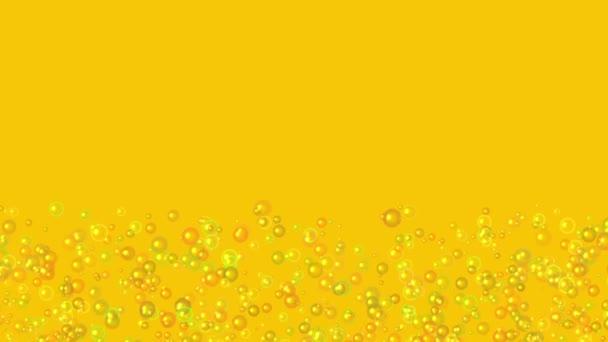 Zpomalený pohyb mnoha zvedací transparentní vzduchových bublin na oranžové pozadí