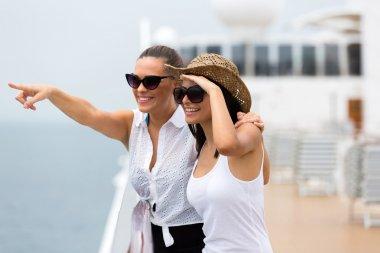 Friends enjoying cruise ship