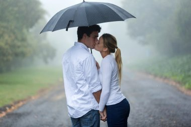Couple in love under umbrella in the rain