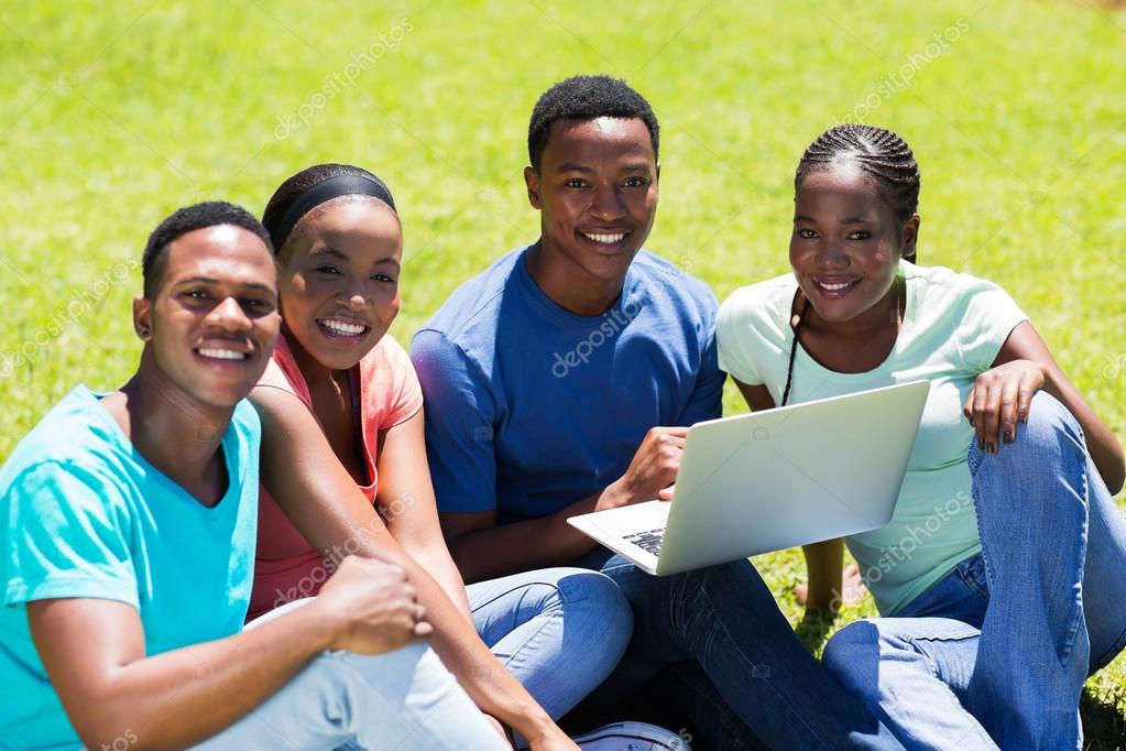 Group Of African American College Friends Stock Photo