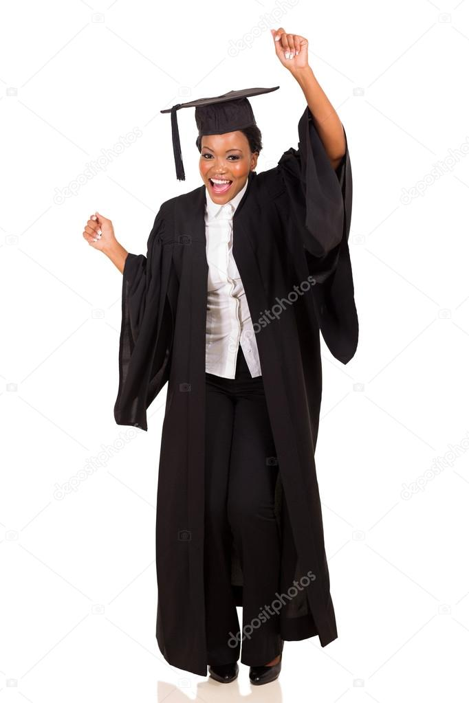 College student in graduation gown dancing — Stock Photo ...