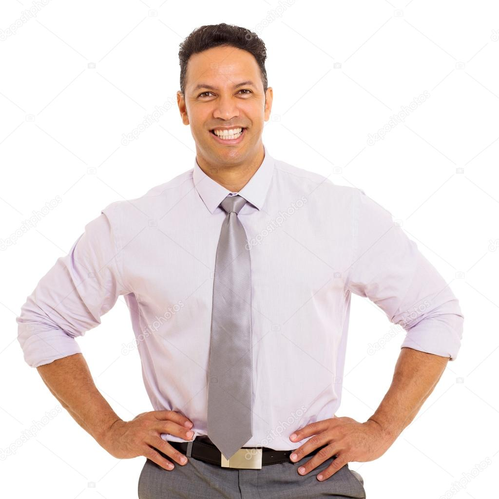middle aged smiling businessman