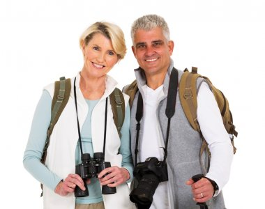hikers with camera and binoculars