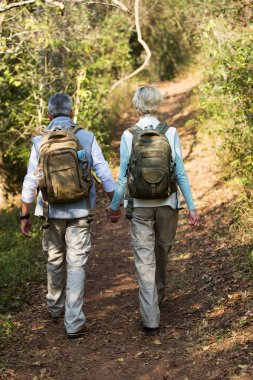 couple walking in forest