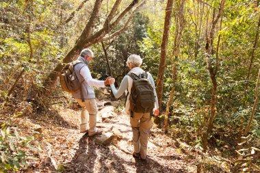 Senior couple on hiking trip