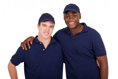 happy multiracial workers