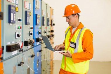 engineer using laptop computer