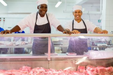 multiracial butchery co-workers